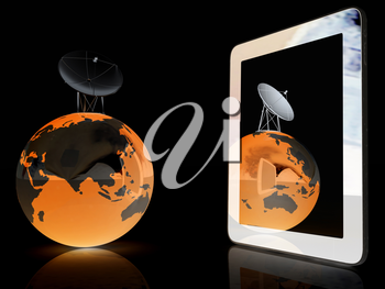 The concept of mobile high-speed Internet and planet earth on a black background