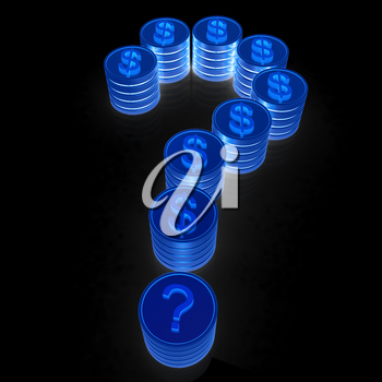 Question mark in the form of coins with dollar sign