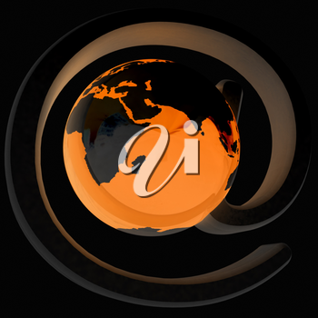 Glossy icon with mail for Earth on a black background