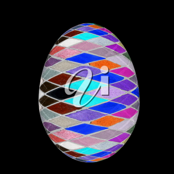Easter Egg with colored strokes Isolated on black background. 3d