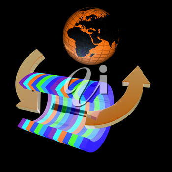 3d colorful abstract cut pipe and Earth on a black background