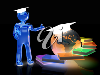 The world is opened for you. Global Education on a black background