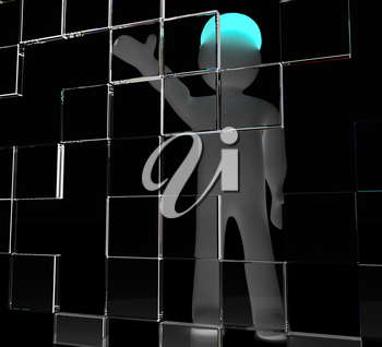 3d man making choice, on white background