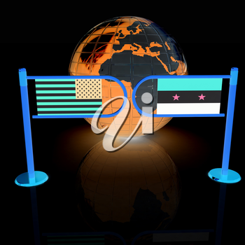 Three-dimensional image of the turnstile and flags of USA and Syria on a white background