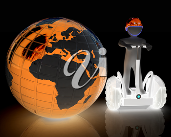 3d white person riding on a personal and ecological transport and earth.Global ecology and healthy life concept.3d image.