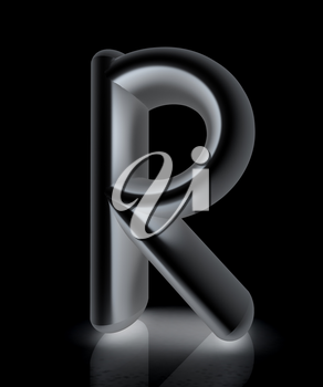 3D metall letter R isolated on white