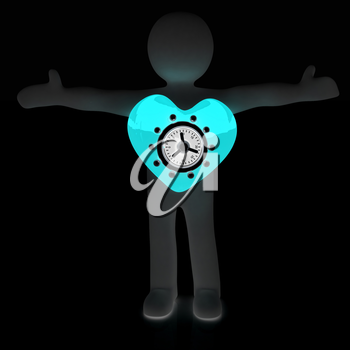 3d man - people with safe heart