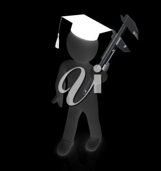 3d man in graduation hat with vernier caliper on a white background