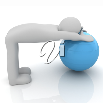 3d man exercising position on fitness ball. My biggest pilates series