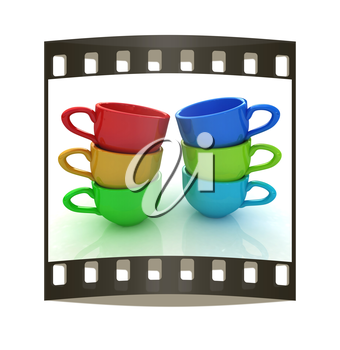 mugs on a white background. The film strip