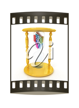 3d hourglass with the books inside on a white background. The film strip