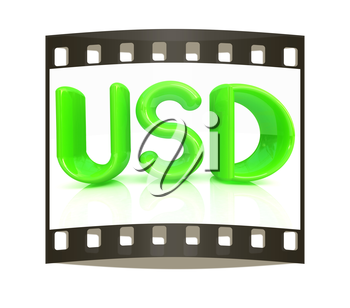 USD 3d text on a white background. The film strip