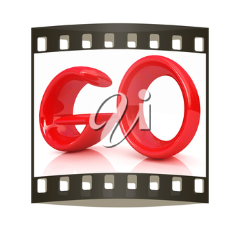 3d red text go on a white background. The film strip