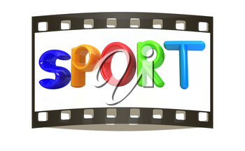 3d colorful text sport on a white background . The film strip