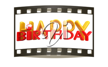 Happy Birthday3d colorful text with earth on a white background. The film strip