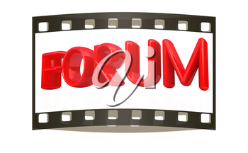 forum 3d red text on a white background. The film strip