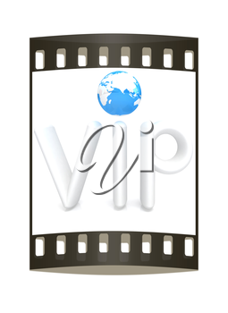 Word VIP with 3D globe on a white background. The film strip