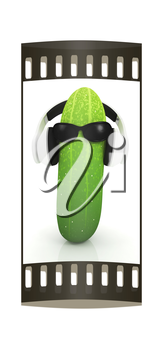 cucumber with sun glass and headphones front face on a white background. The film strip