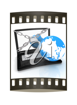 Laptop with lock, chain and earth on a white background. The film strip