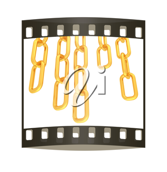 gold chains on white background - 3d illustration. The film strip