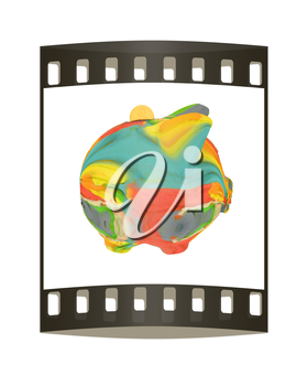 Piggy bank of colorful strokes isolated on white background. The film strip