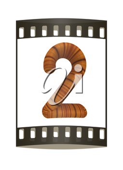 Wooden number 2- two  on a white background. The film strip