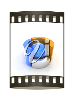 3D circular diagram and sphere on white background. The film strip