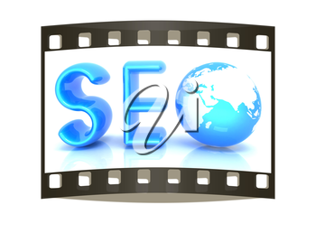 3d illustration of text 'SEO' with earth globe on a white background. The film strip