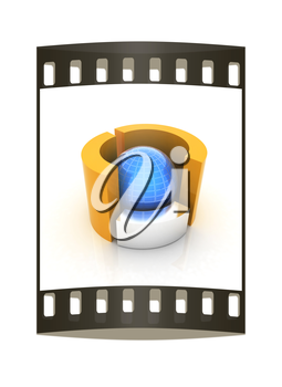 3D circular diagram and sphere on white background on a white background. The film strip