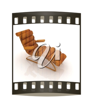 Comfortable wooden Sun Bed on white background. The film strip