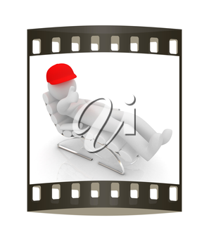 3d white man lying chair with thumb up on white background. The film strip
