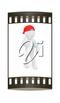 3d man with plastic milk products bottles set on a white background. The film strip
