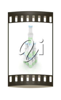 Plastic milk products bottles set on a white background. The film strip