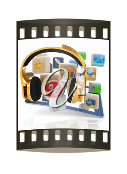 Phone gold on tablet pc with cloud of media application Icons, and percent on a white background. The film strip