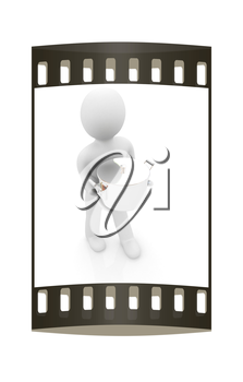 3d man with tableware on a white background. The film strip