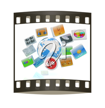 Earth and percent with cloud of media application Icons on a white background. The film strip