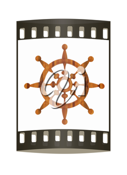 Wooden steering wheel on a white background. The film strip