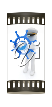 Sailor with steering wheel and earth. Trip around the world concept on a white background. The film strip