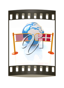 Three-dimensional image of the turnstile and flags of Denmark and USA on a white background. The film strip