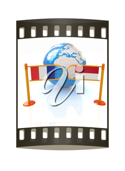 Three-dimensional image of the turnstile and flags of France and Monaco on a white background. The film strip