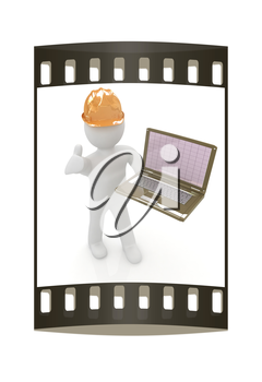 3D small people - an engineer with the laptop on a white background. The film strip