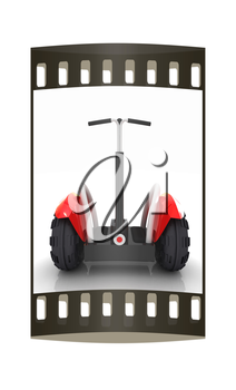 Mini electrical and ecological transport on a white background. The film strip