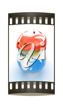 Bicycle helmet on earth. The concept of healthy life and sport on a white background. The film strip