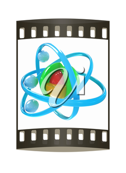 3d atom isolated on white background. The film strip