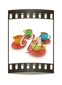 Coffee cups on saucer on a white background. The film strip