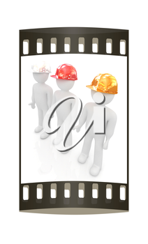 3d mans in a hard hat on a white background. The film strip