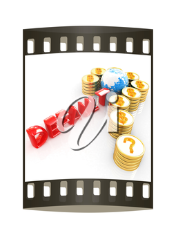Question mark in the form of gold coins with dollar sign on a white background. The film strip