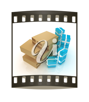 Cardboard boxes and gifts on a white background. The film strip