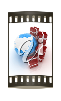 Traditional Christmas gifts and earth on a white background. Global holiday concept. The film strip