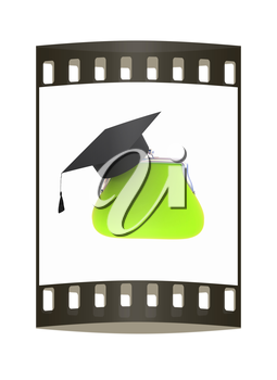 money bags education hat sign illustration design over white. The film strip